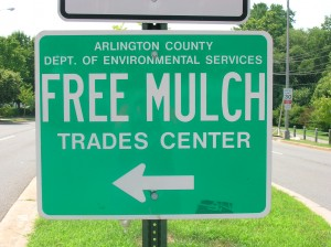 Free Mulch sign advertising the service at the Trades Center in Arlington, VA