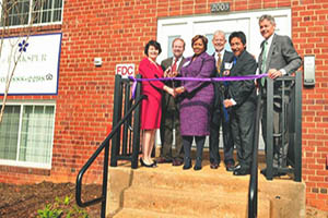 Ribbon cutting at affordable housing community - Larkspur