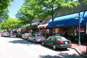 Cars parked on the street in Shirlington.