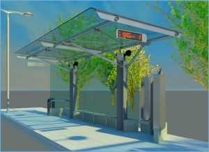 Daytime view of the new transit station concept.