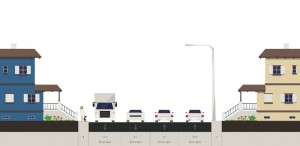 Existing Wilson Boulevard configuration cross-section.