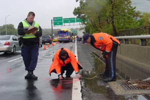 Police officers responding to an accident