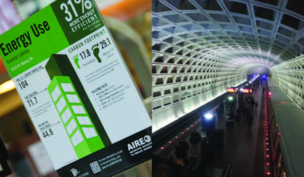 one image of an energy savings handout, a second image of a metro rail station tunnel