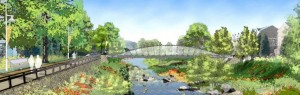 Conceptual design artwork of Four Mile Run Restoration from the Master Plan document.