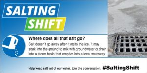 Use less winter salt, storm drains lead to streams and drinking water sources