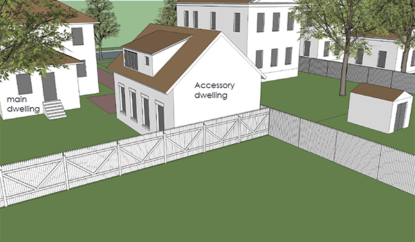 rendering of accessory dwelling in relation to main dwelling on the same property