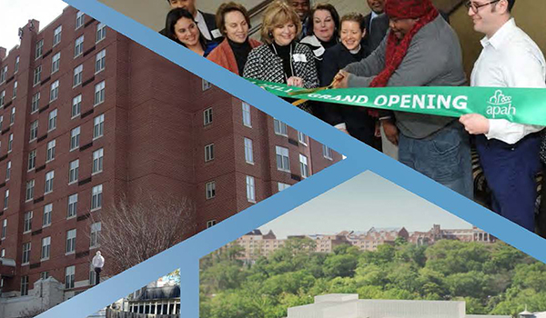 housing arlington collage featuring an apartment building and a ribbon cutting ceremony
