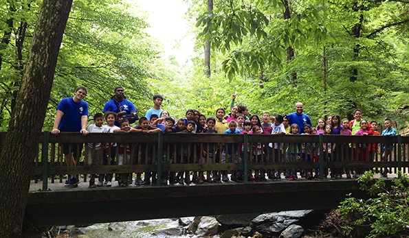 camp kids on a bridge