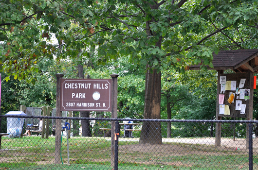 chestnut hills park arlington county sign