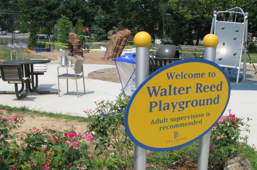 walter reed park arlington county sign