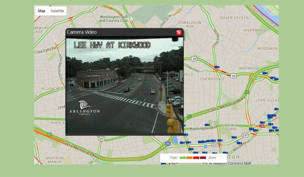 Image of live traffic cameras website, showing how the traffic cameras work when clicked on.