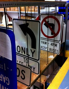 Traffic signs in the warehouse.