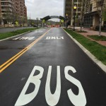 """Bus Only"" markings on exclusive bus lanes"