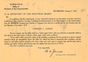 Candidate notice from 1918