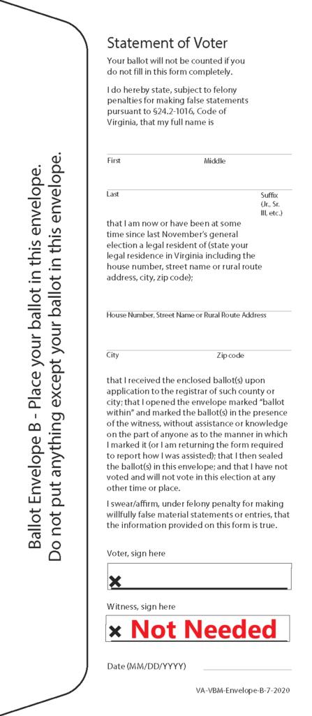 Image of Ballot Envelope B Statement of voter