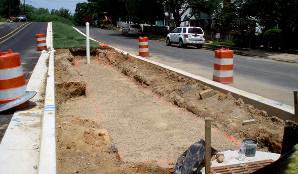 Patrick Henry green street during construction.