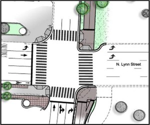 Rendering of the North Lynn Street curb extension and trail intersection.