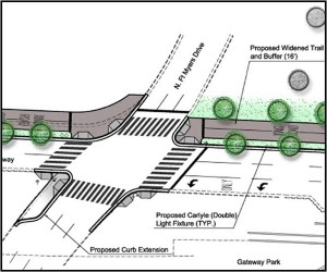 Rendering of the Fort Myer Drive curb extension.