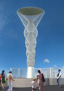 Rendering of the public art sculpture with custom fencing.