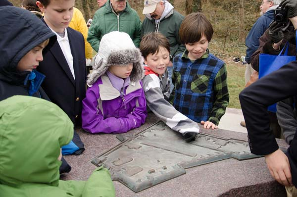 Children learning about the historic Fort Ethan Allen