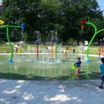Children playing at the sprayground