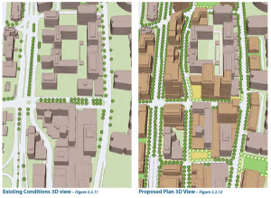 Before and after aerial rendering of the 23rd Street South realignment.
