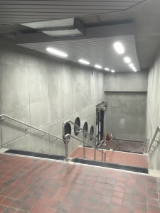 Photo of renovated tunnel stairs leading to Metro station mezzanine
