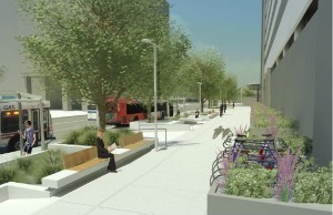 Rendering of 90% Design Plan - Bus waiting areas on Stuart Street