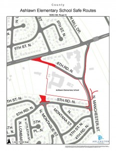 Location map of Ashlawn E.S. Safe Routes to School projects