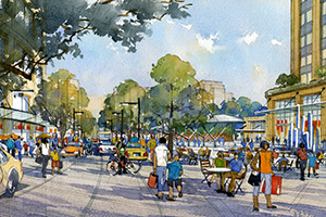 artistic rendering of future courthouse square