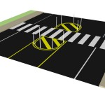 Sample of proposed short-term improvement: marked crosswalk median with bollards
