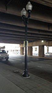 New street light under the Route 1 bridge