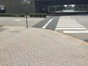 Photo of existing crosswalk on 12th Street South at Army Navy Drive