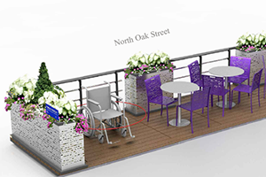 rosslyn parklet prototype, a publicly accessible deck platform that serves as an extension of the sidewalk, usually located in the parking lane adjacent to the curb