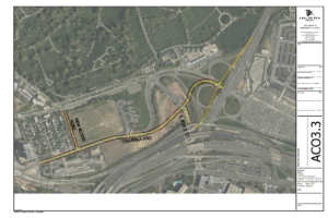 Map showing the realigned Columbia Pike and Southgate Road and modifications to the Columbia Pike/Washington Boulevard interchange