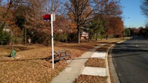 Bus stop at South Walter Reed Drive & South Dinwiddie Street, after ADA improvements