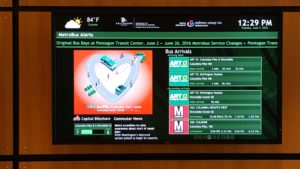 Real-time transit arrival display - Lobby of Arlington Mill Community Center