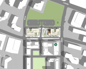 map of the pen place project in relation to the surrounding neighborhood