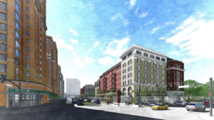 artistic rendering of pen place, view from corner of south eads and 12th street