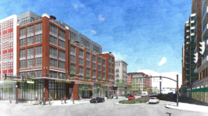 artistic rendering of pen place project, view from corner of south fern and 12th street