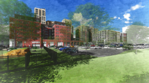 artistic rendering of pen place project, view of site from future park