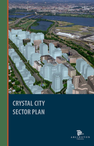 cover of the crystal city sector plan, renderings of new development among existing neighborhood
