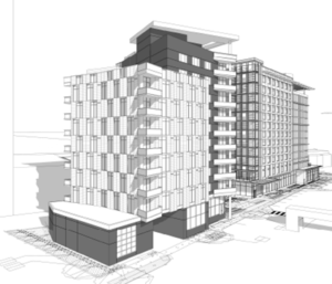 black and white artistic rendering of completed 1501 arlington blvd structure