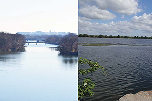 two photographs of the potomac river, taken from the virginia side
