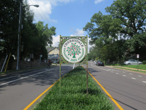 cherrydale neighborhood sign in the median of a road