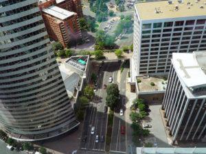 view of rosslyn streets from central place observation deck
