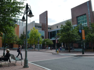 signature theater, library and plaza complex in shirlington neighborhood