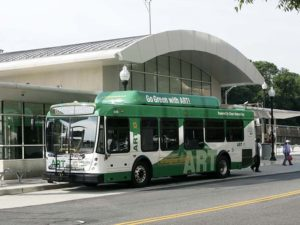 shirlington bus transfer station with a bus out front