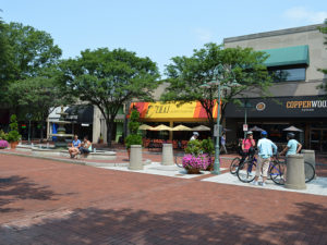streetscape in the shirlington neighborhood, including benches, planters and storefronts