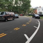 New eastbound contraflow bike lane along the one-way section of 9th Street between South Ivy and Irving Streets